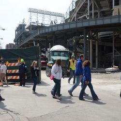 12:17 p.m. Concrete truck ready to exit the work site -