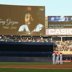 Yankees Kelly Johnson, Derek Jeter, and Brian Roberts stand in honor of Tony Gwynn at Yankee Stadium on June 17, 2014