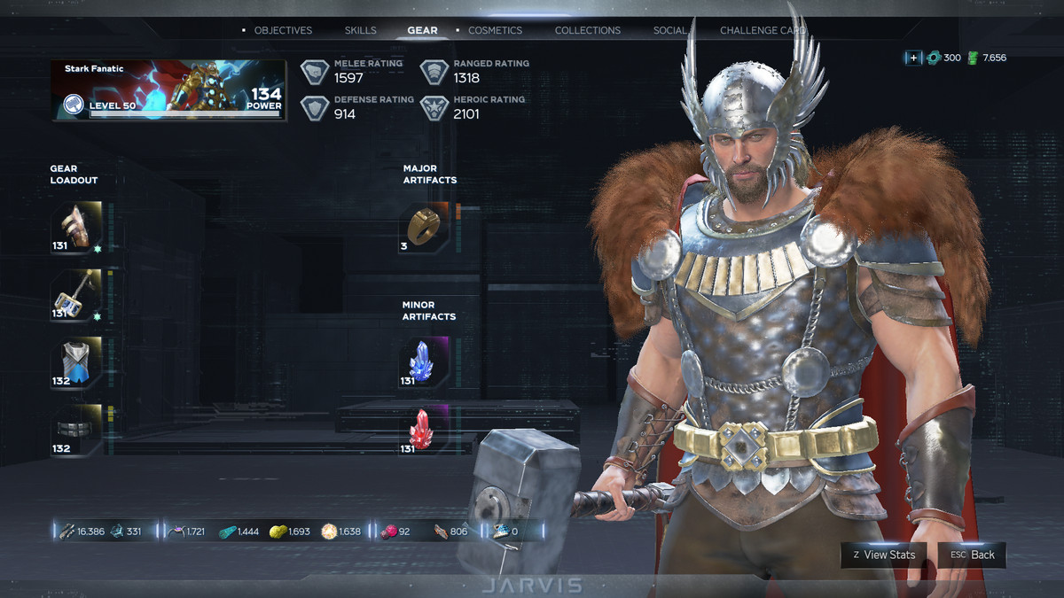 A screenshot of Thor and his gear in Marvel's Avengers