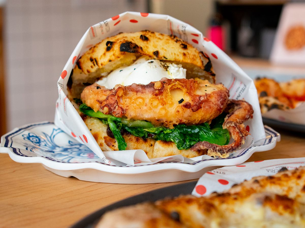 An octopus and burrata panino from Stellina Pizzeria.