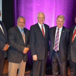 Left to right, LDS Church FamilySearch product manager Thom Reed poses with Lonnie G. Bunch III, founding director of the National Museum of African American History and Culture; Elder D. Todd Christofferson, Quorum of the Twelve Apostles of The Church of Jesus Christ of Latter-day Saints; David Ferriero, United States Archivist; Rex M. Ellis, associate director for Curatorial Affairs of the National Museum of African American History and Culture, after Elder Christofferson presented an indexed database of the historic Freedmen's Bureau Records — genealogical information of freed African Americans after the Civil War — to the museum on Tuesday, Dec. 6, 2016.