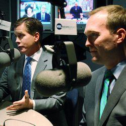 "Mark Crockett, left, and Ben McAdams, Salt Lake County mayoral candidates, debate on ""The Doug Wright Show"" on KSL NewsRadio in Salt Lake City, Monday, Oct. 22, 2012."