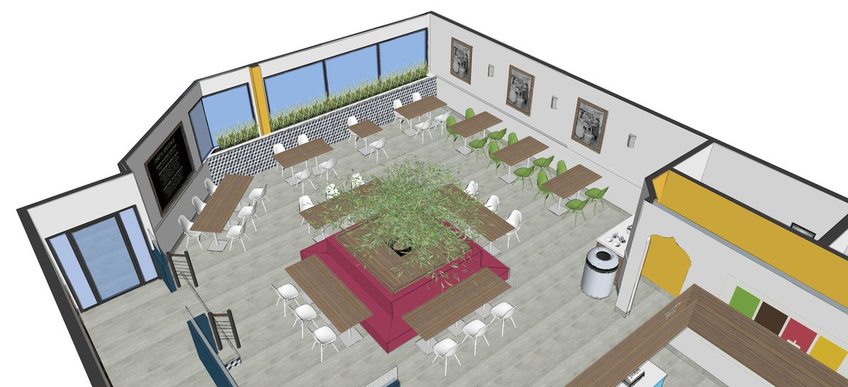 A rendering of the Shami Kitchen layout.