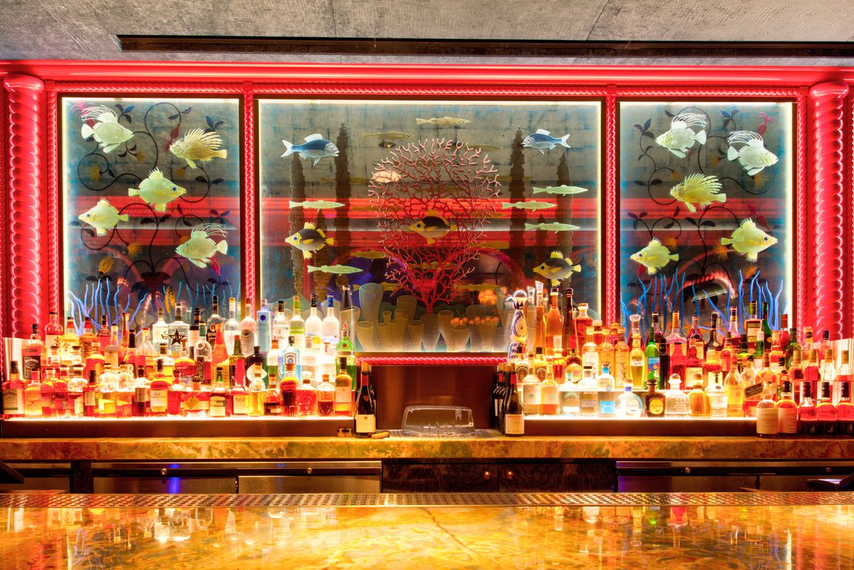 The bar in the middle room at The Mayfair Supper Club