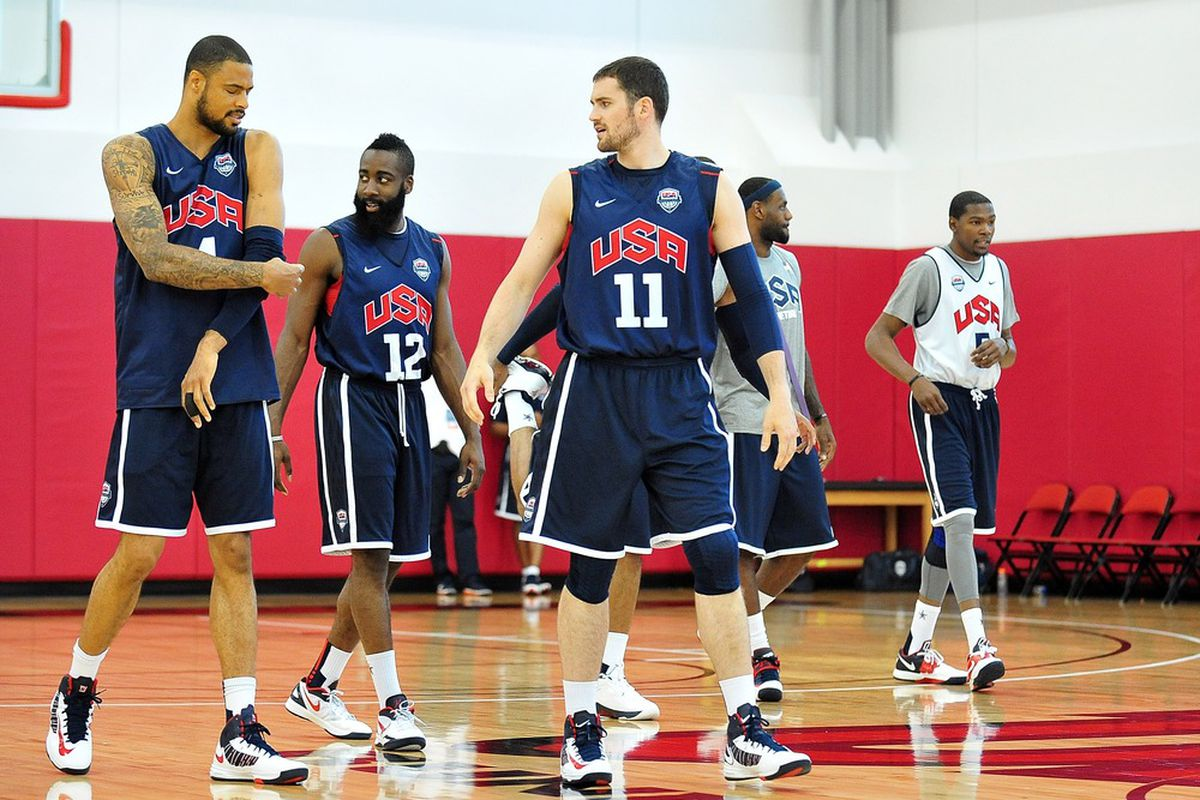July 9, 2012; Las Vegas, NV, USA; Team USA center Tyson Chandler, guard James Harden, forward Kevin Love, forward LeBron James, and guard Kevin Durant during practice at the UNLV Mendenhall Center. Mandatory Credit: Gary A. Vasquez-US PRESSWIRE