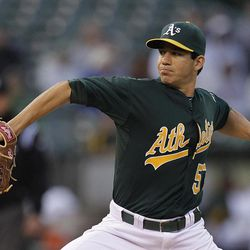 Oakland Athletics' Tom Milone works against the Kansas City Royals during the first inning of a baseball game Monday, April 9, 2012, in Oakland, Calif.