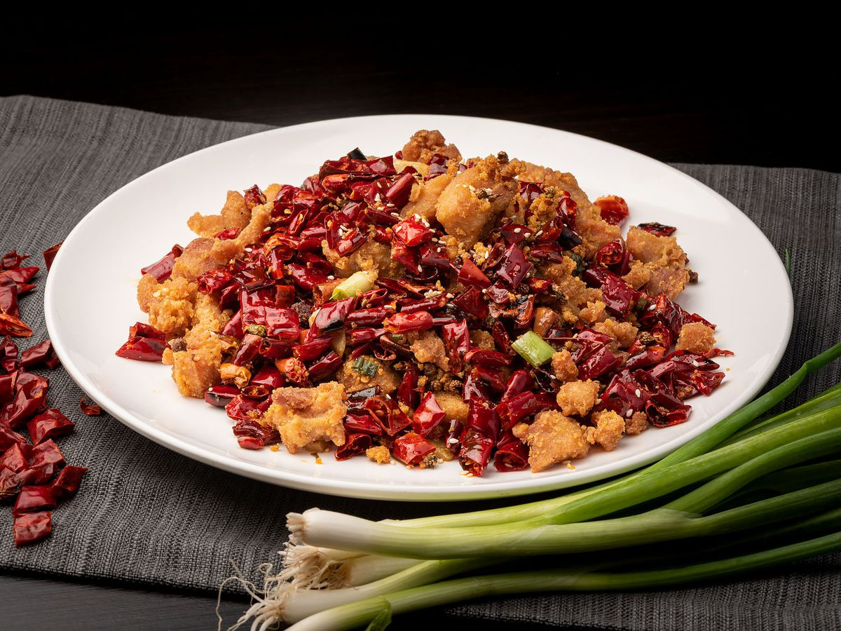 A plate of fried chicken and spicy Sichuan chiles at Xiang La Hui