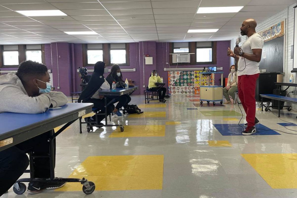 Kamau Stanford, chief operating officer for the Philadelphia Black Doctors COVID-19 Consortium, spoke to students at Mastery Charter School's Shoemaker campus Friday.