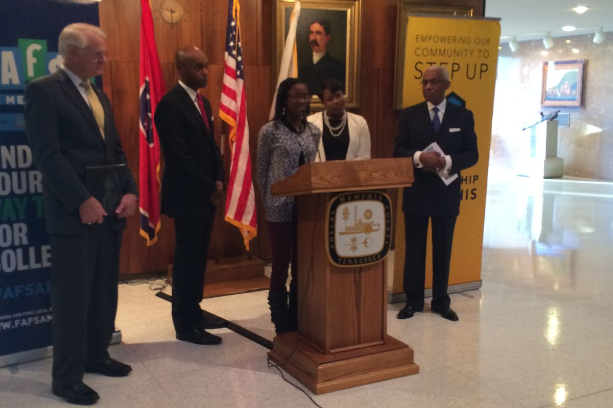 Carver High School student Kristen Tate, spoke at a press conference about filling out the FAFSA form.
