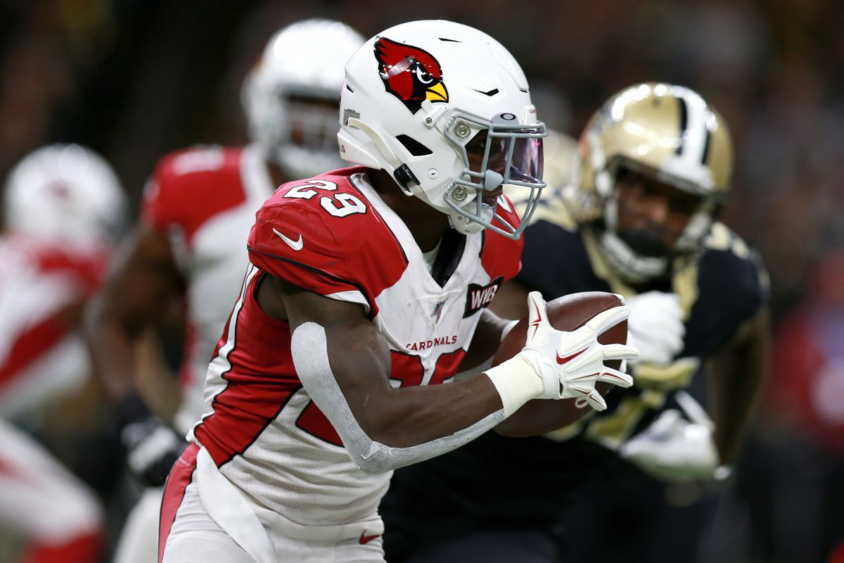 Chase Edmonds of the Arizona Cardinals runs the ball during a NFL game during a game against the New Orleans Saints at the Mercedes Benz Superdome on October 27, 2019 in New Orleans, Louisiana.