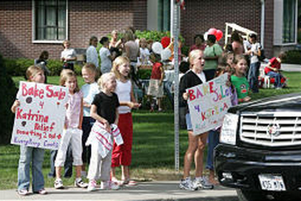 A group of Salt Lake City girls holds a bake sale to raise money for victims of Hurricane Katrina. Many of the items sold within 20 minutes.