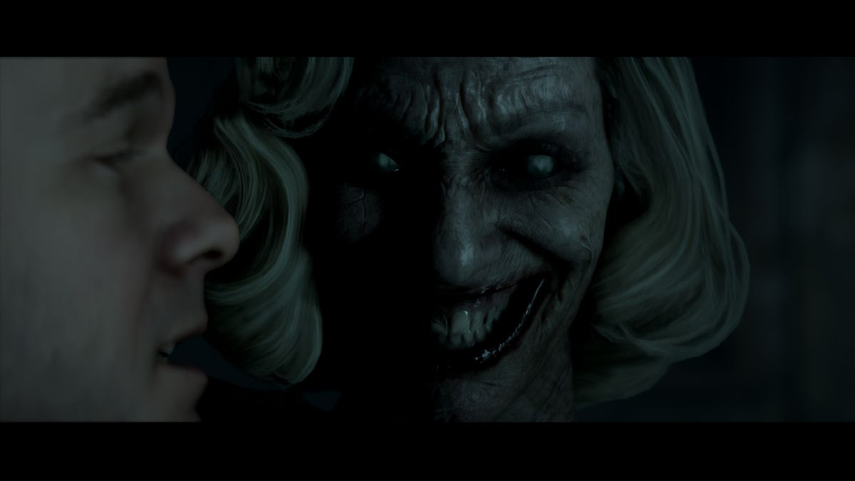 a woman with creepy Joker-like makeup gives a sinister smile while looking at a man