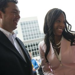 Congresswoman Mia Love, R-Utah, right, talks with Rep. Jason Chaffetz, R-Utah, left, following a ribbon-cutting ceremony for Overstock.com's new Peace Coliseum office building in Midvale on Friday, Oct. 14, 2016.
