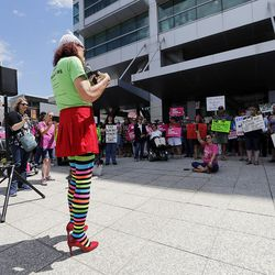 Rachel Edwards speaks as people gather in Salt Lake City on Tuesday, June 27, 2017, to rally against a Senate GOP health care bill.