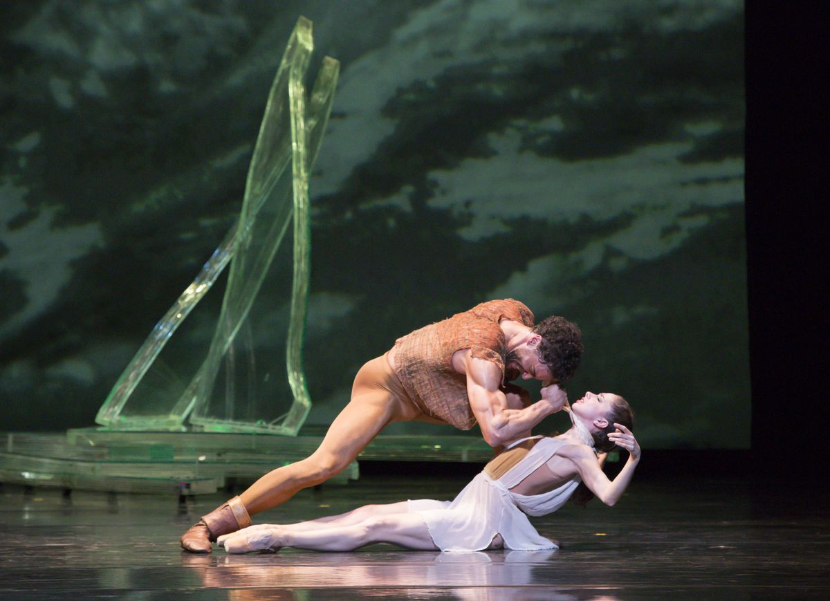 """April Daly and Fabrice Calmels in the Joffrey Ballet's 2013 production of """"Othello."""""""