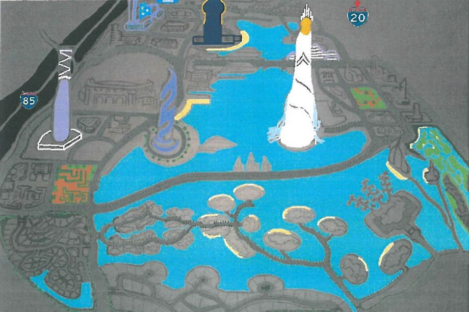 A weird rendering of a development proposal in downtown Atlanta.