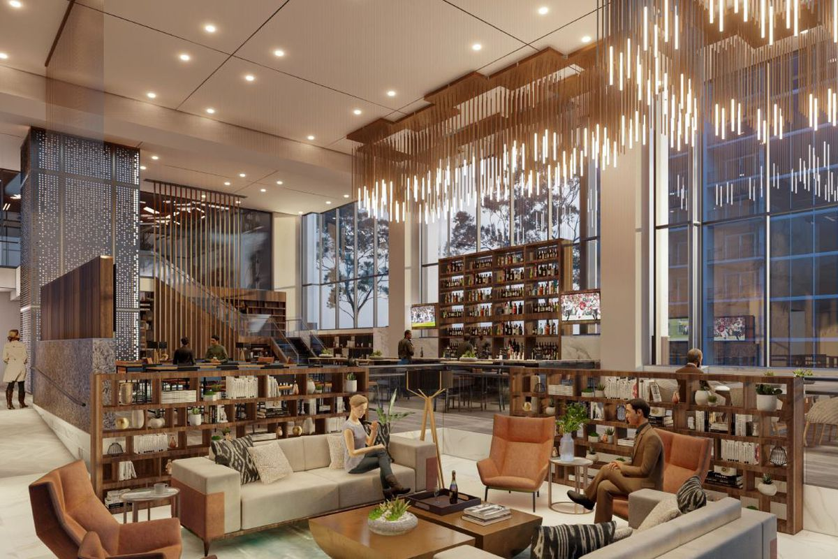 Rendering of the Office Bar in the office tower at the upcoming 1105 West Peachtree complex