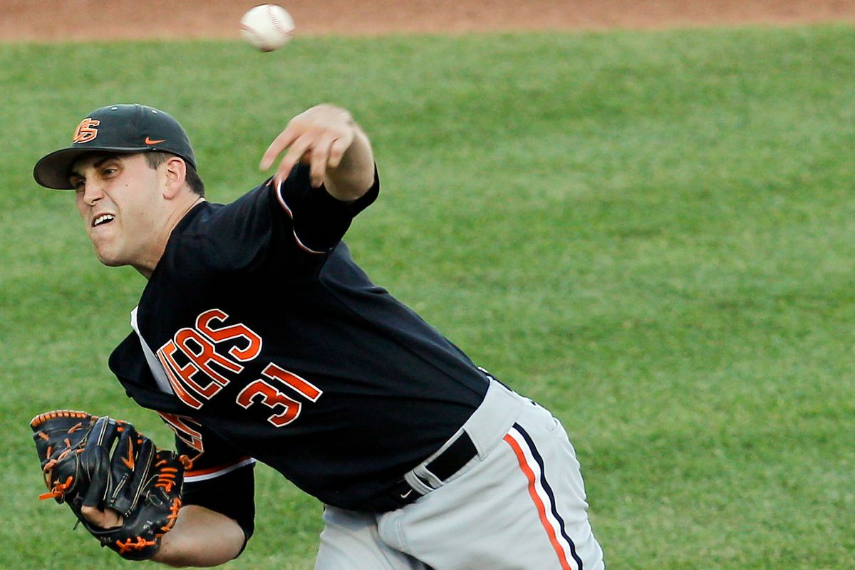 Matt Boyd pitching for Oregon State in 2013