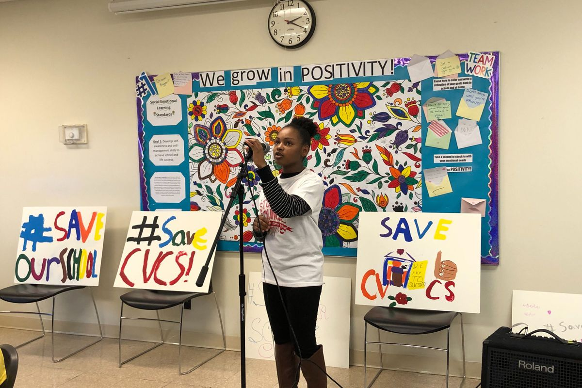 Chicago Virtual Charter School ninth grader Lena Kelly urges that her school be kept open. She spoke at a meeting in February 2020.