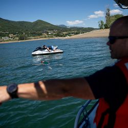 Weber Fire District and Weber County Sheriff's Department personnel approach mock victims while training on water rescue skills at Pineview Reservoir near Huntsville, Weber County, on Monday, June 28, 2021.