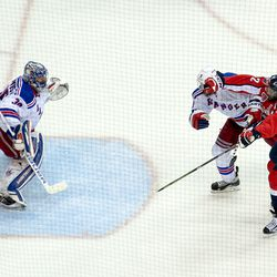 Ward and Girardi In Front of Lundqvist