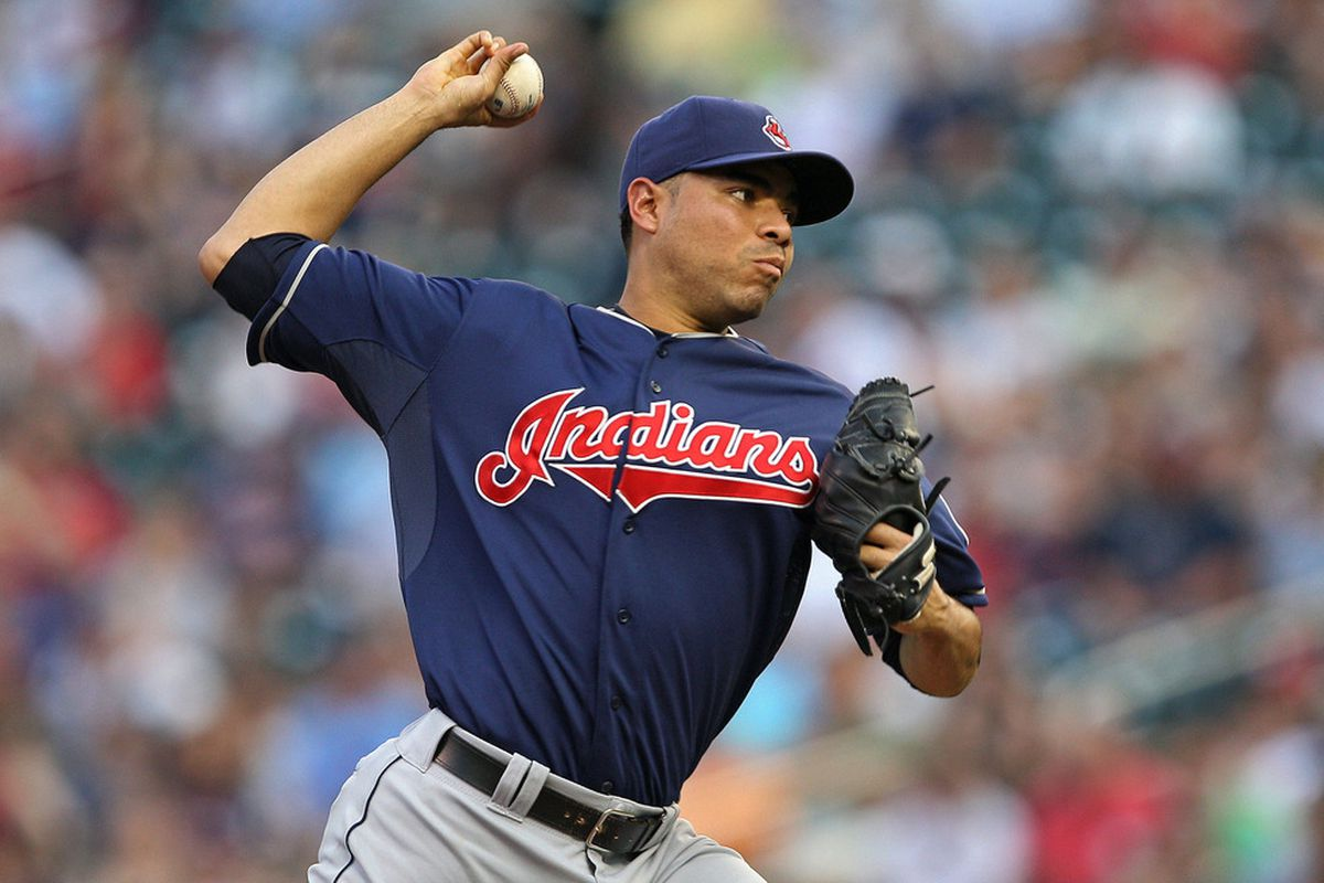 May 14, 2012; Minneapolis, MN, USA: Cleveland Indians starting pitcher Jeanmar Gomez (58) delivers a pitch in the first inning against the Minnesota Twins at Target Field. Mandatory Credit: Jesse Johnson-US PRESSWIRE