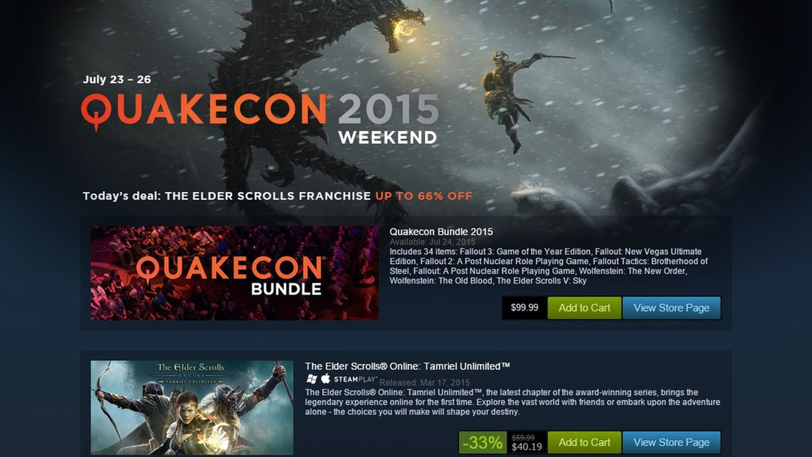 Massive QuakeCon bundle and sales running all weekend long