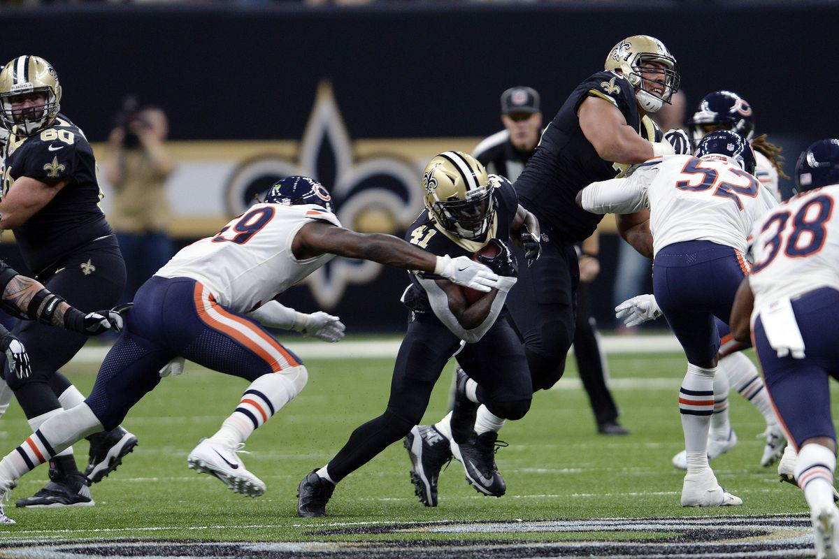 Saints versatile running back Alvin Kamara (41, vs. the Bears in 2017 at the Superdome) averages 137.8 total yards per game this season —60.7 rushing and 76.7 receiving.