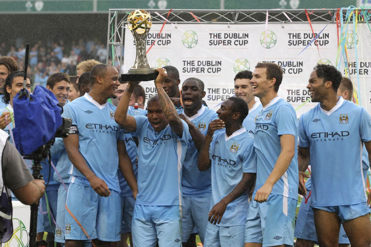 DUBLIN, IRELAND - JULY 31:  Manchester City celebrate their win during the Dublin Super Cup match between Inter Milan and Manchester City at the Aviva Stadium on July 31, 2011 in Dublin, Ireland.  (Photo by David Rogers/Getty Images)
