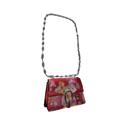 a 3d model of a pink purse with a floral pattern