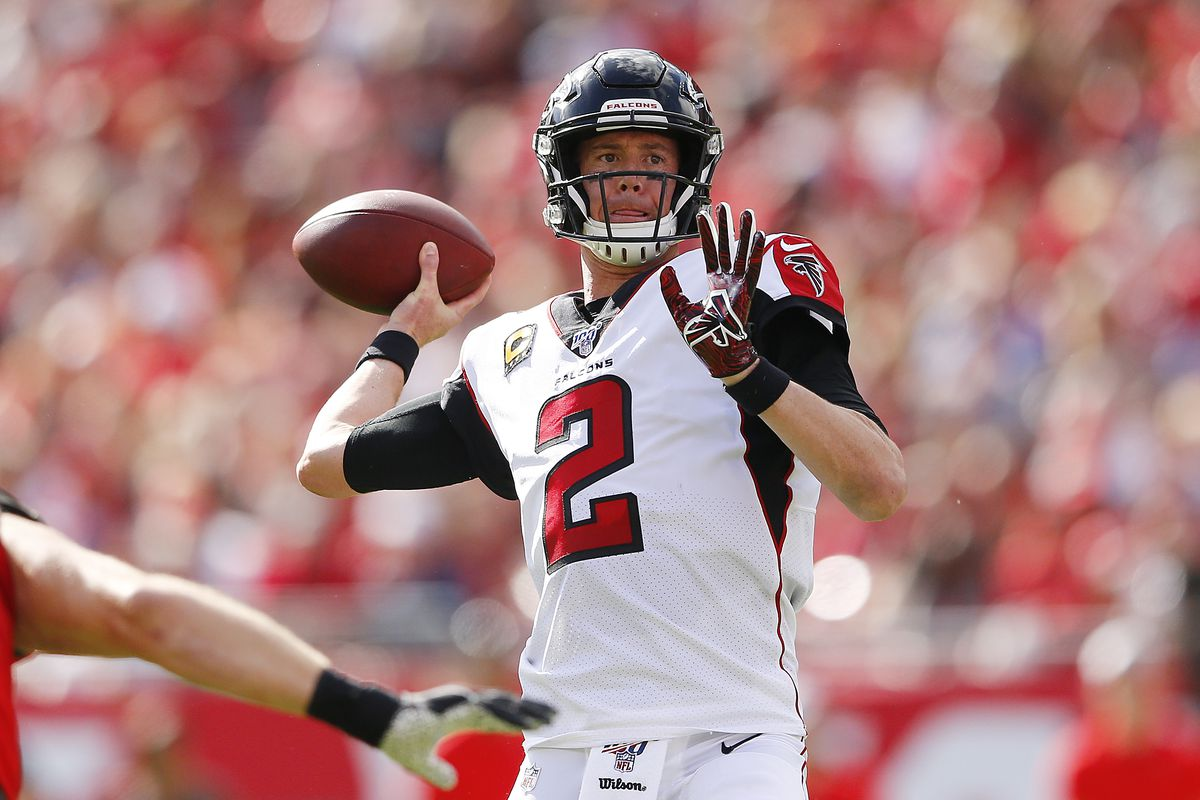 Matt Ryan #2 of the Atlanta Falcons in action against the Tampa Bay Buccaneers at Raymond James Stadium on December 29, 2019 in Tampa, Florida.