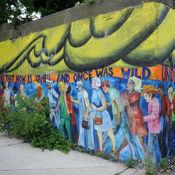 Mural next to Metra bridge located at Lake Park Ave and 55th street in Hyde Park. | Victor Hilitski/For the Sun-Times
