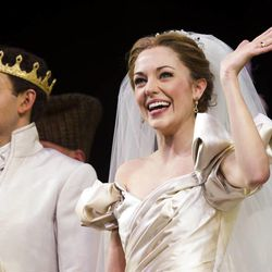"""Laura Osnes and Santino Fontana appear at the curtain call for the Broadway premiere of Rodgers & Hammerstein's"""" Cinderella"""" on Sunday, March 3, 2013 in New York. (Photo by Charles Sykes/Invision/AP)"""