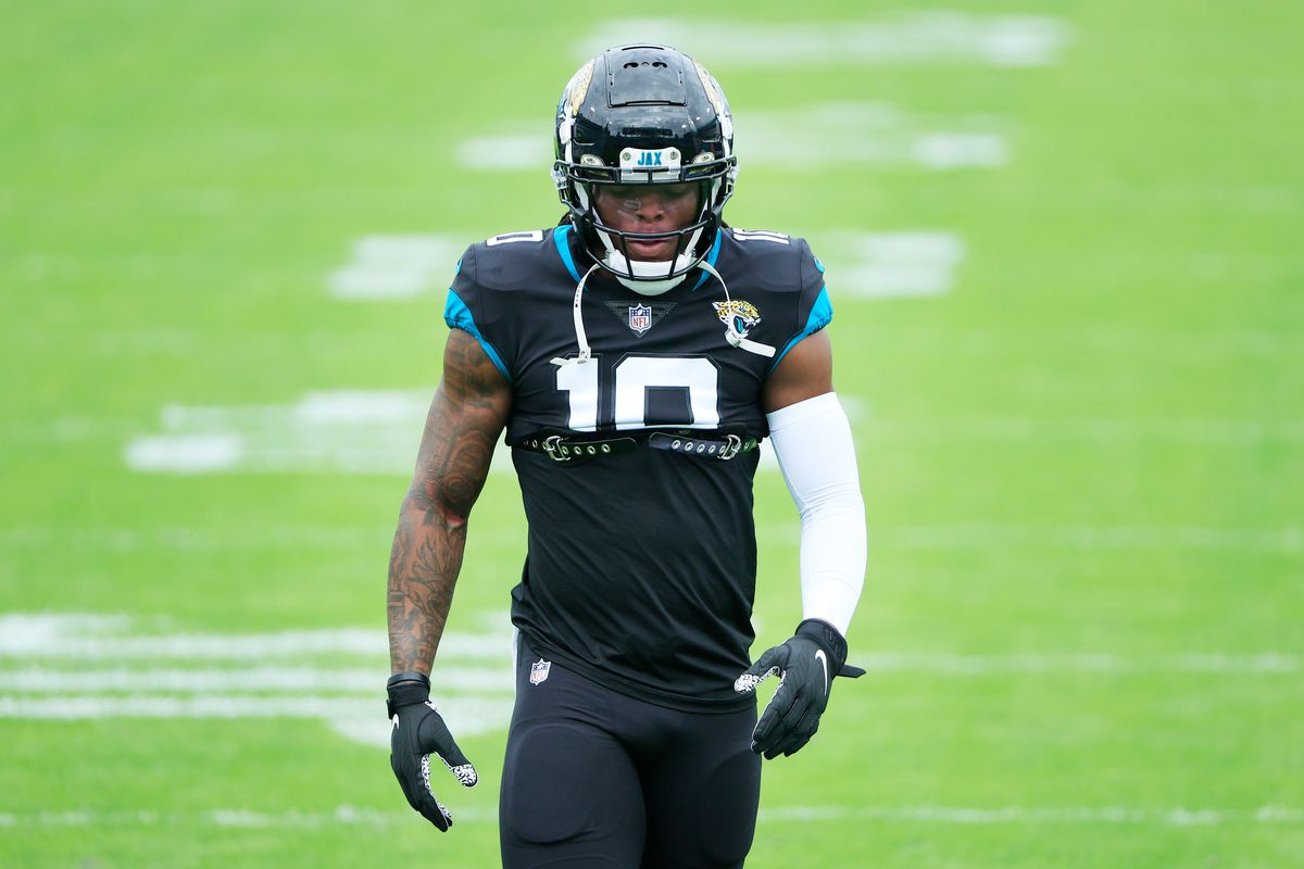 Laviska Shenault Jr. #10 of the Jacksonville Jaguars warms up prior to their game against the Cleveland Browns at TIAA Bank Field on November 29, 2020 in Jacksonville, Florida.