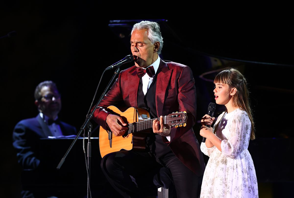 Andrea Bocelli performs in concert with his daughter Virginia Bocelli in April at the World Heritage Site of Hegra near Tabuk, Saudi Arabia.
