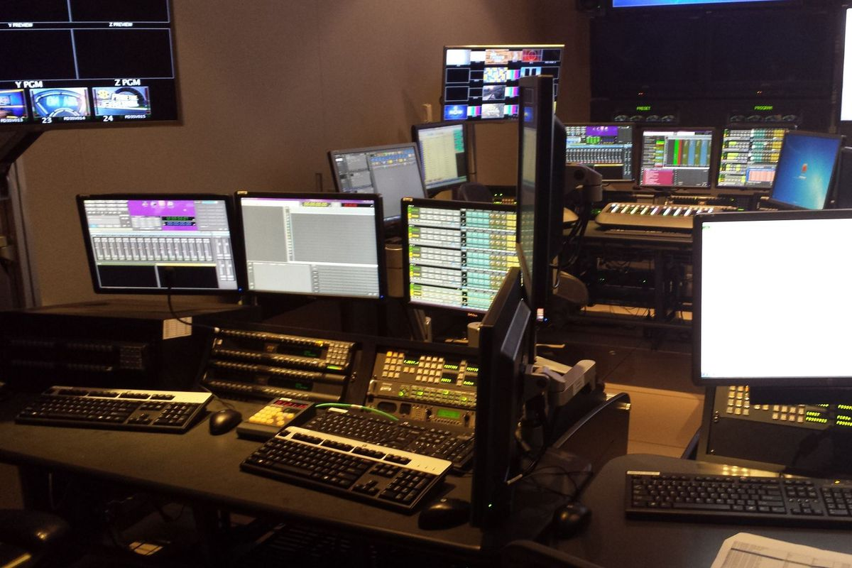A portion of the primary control room for SEC Network HQ in Charlotte