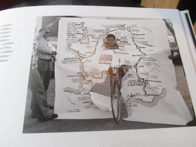 For all that the art of cartography has changed many ideas are timeless. Here Lucien van Impe, winner of the 1976 Tour, bursts through a map of the route, similar to the way 'La Vie au Grand Air' had Philippe Thys doing the same in 1913.