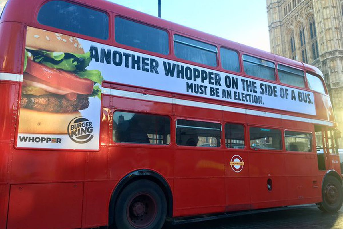 """Burger King has a dig at Boris Johnson's £350 million a week for the NHS bus lie during the Brexit referendum —putting """"Another Whopper"""" on the side of a red bus"""