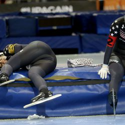 USA's Paige Schwartzburg, right, and Mia Kilburg-Manganello catch their breath after competing in the team pursuit at the ISU World Single Distances Speed Skating Championships at the Utah Olympic Oval in Kearns on Friday, Feb. 14, 2020.