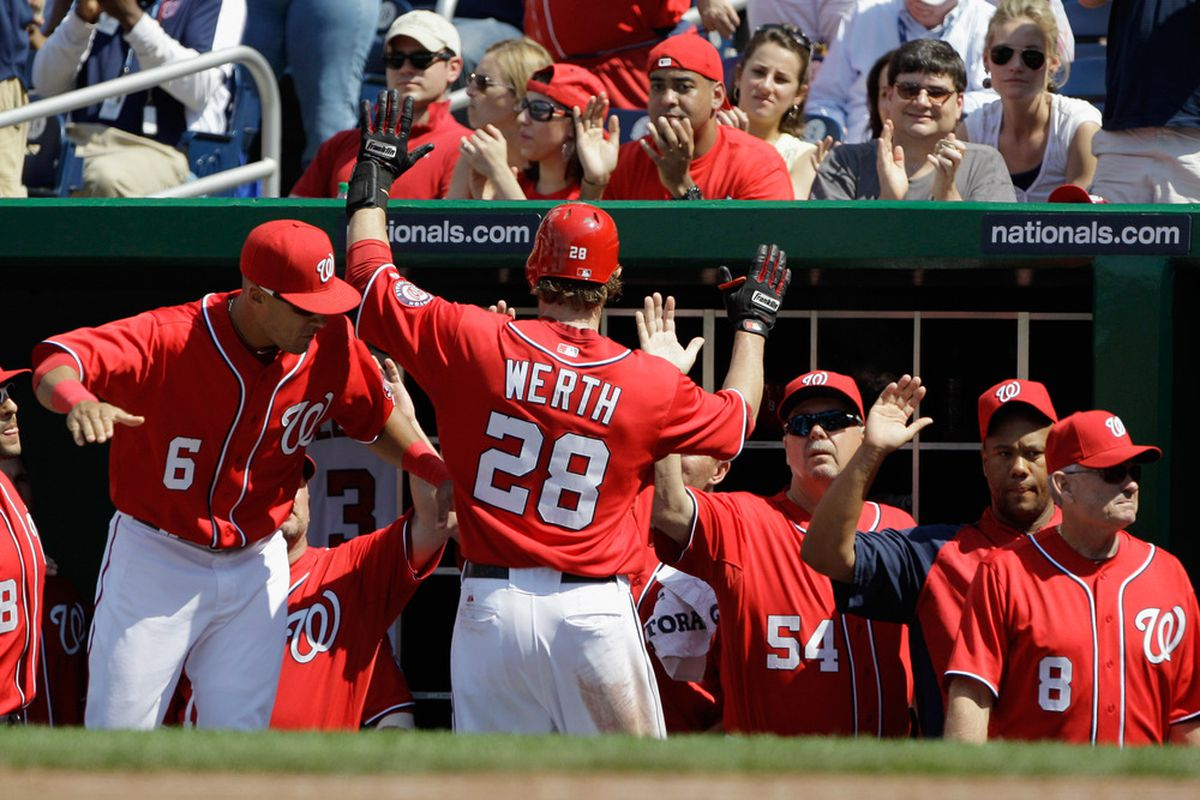 WASHINGTON, DC - MAY 15:  Jayson Werth #28 of the Washington Nationals celebrates after scoring against the Florida Marlins during the fifth inning at Nationals Park on May 15, 2011 in Washington, DC.  (Photo by Rob Carr/Getty Images)