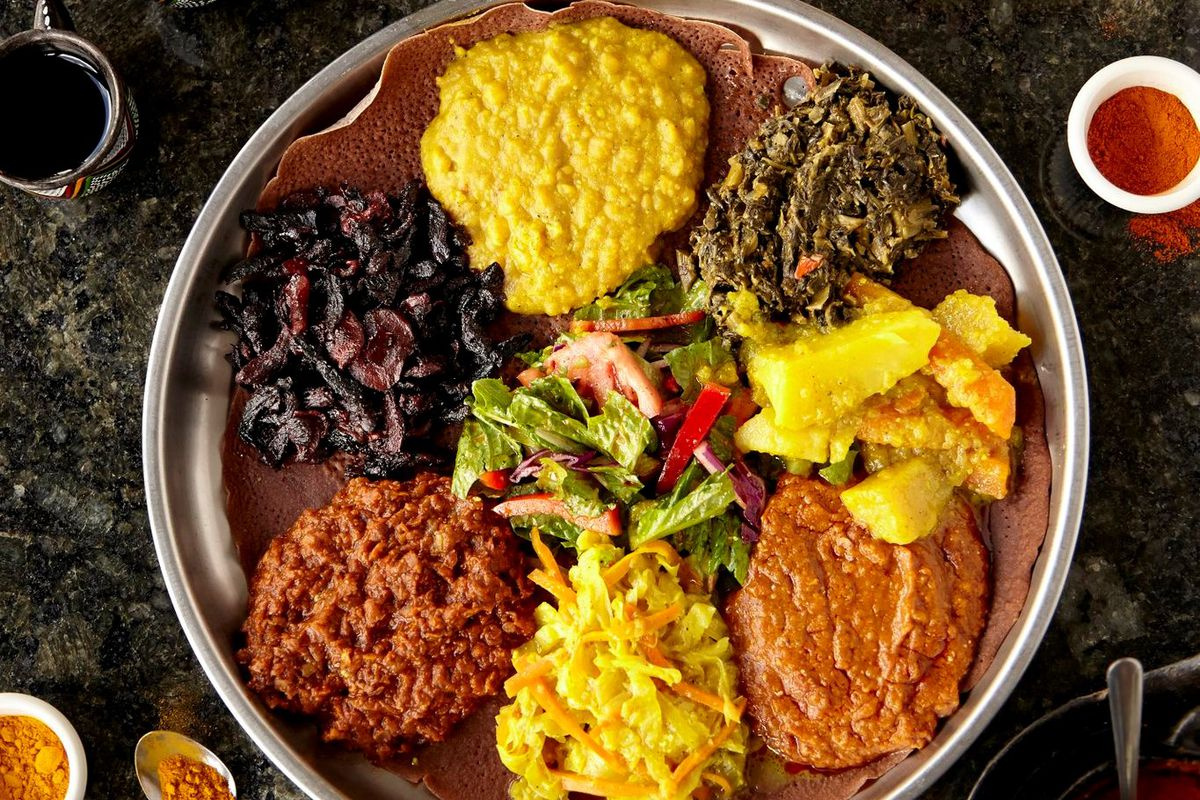 A circular plate of Ethiopian food.