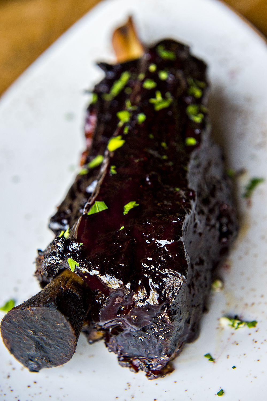Two-pound braised beef rib with blackberry kalimotxo.