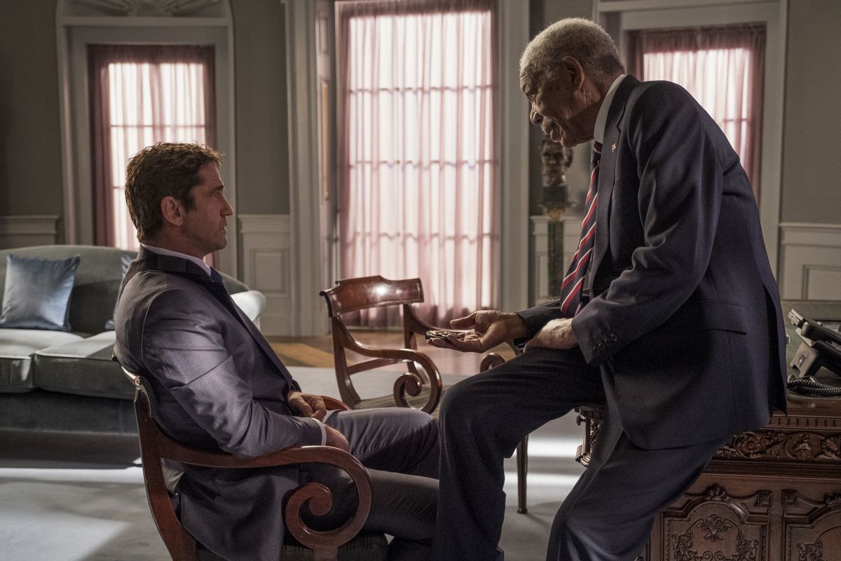 "Gerald Butler as Mike Banning and Morgan Freeman as President Trumbull in ""Angel Has Fallen."""