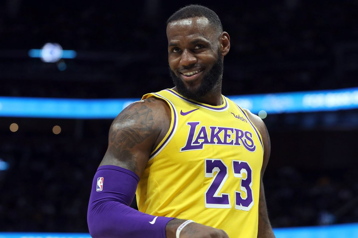 Los Angeles Lakers forward LeBron James smiles during game against the Orlando Magic during the second quarter at Amway Center.