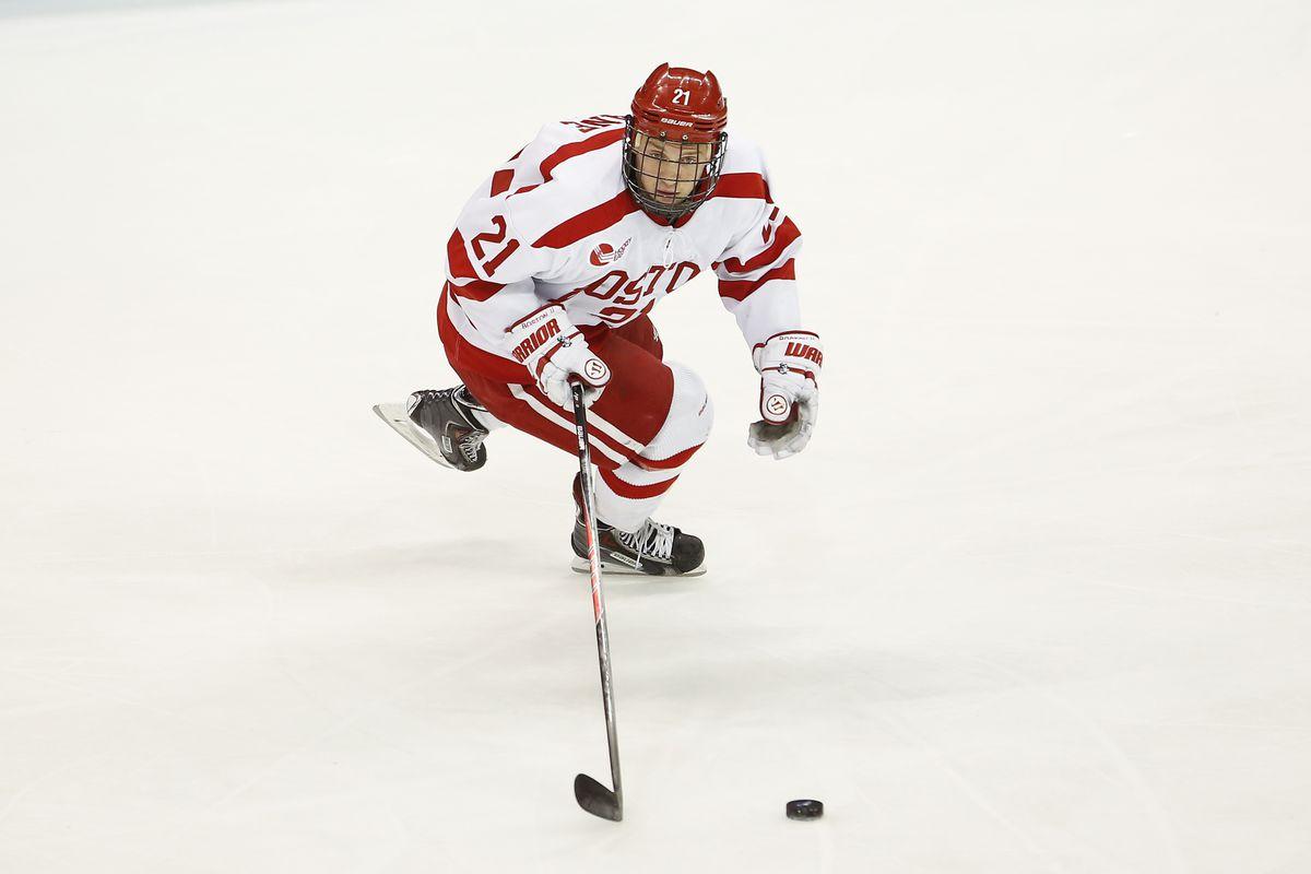 Boston University junior Matt Lane scored the game tying goal 1:37 into the third period.