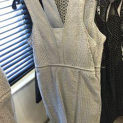 Grey lace dress, $275 (was $1,390)