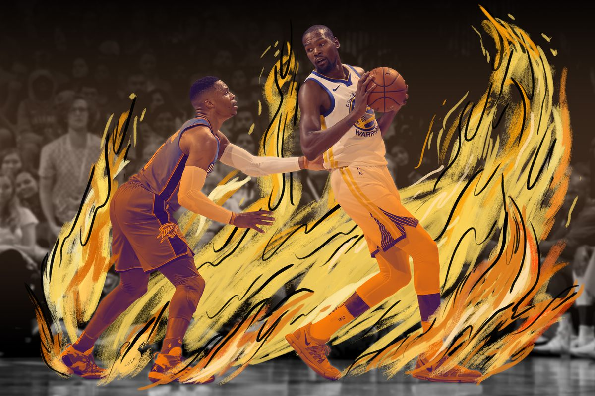 Russell Westbrook and Kevin Durant facing each other, with an illustration of the court engulfed in flames