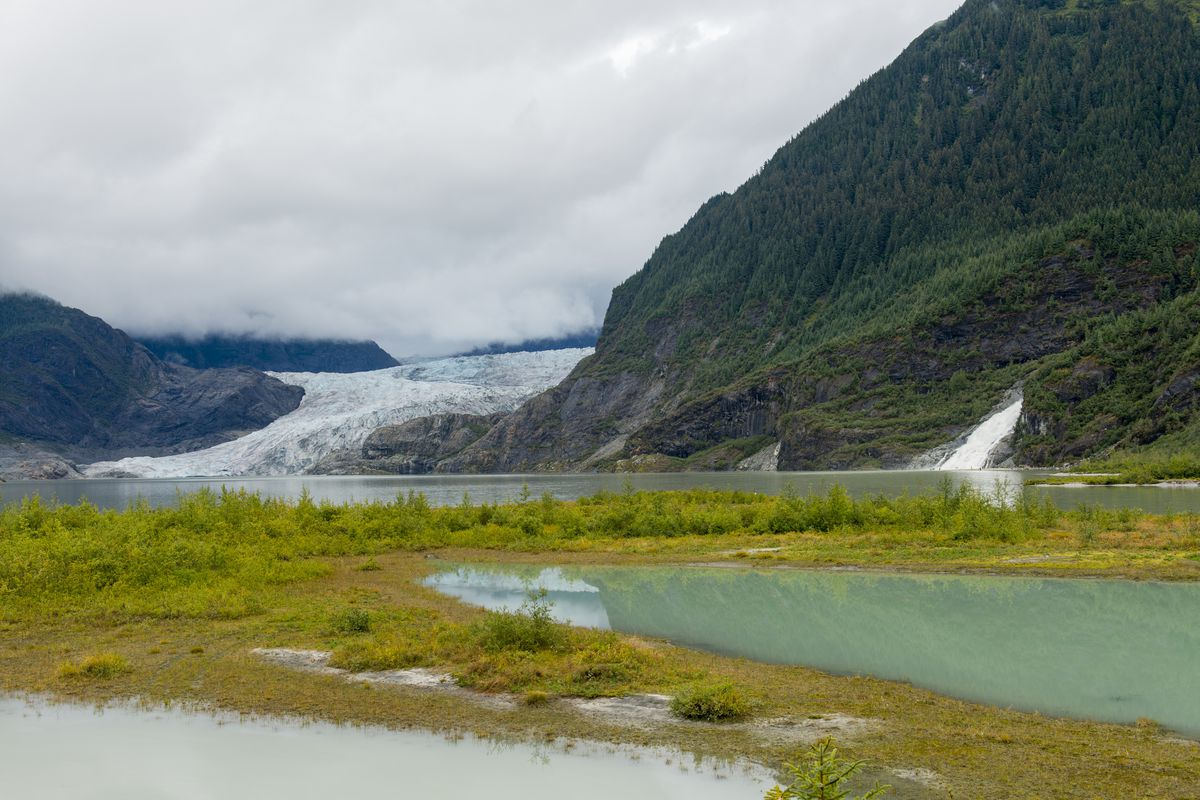 View from the Nugget Falls Trail of Mendenhall Glacier