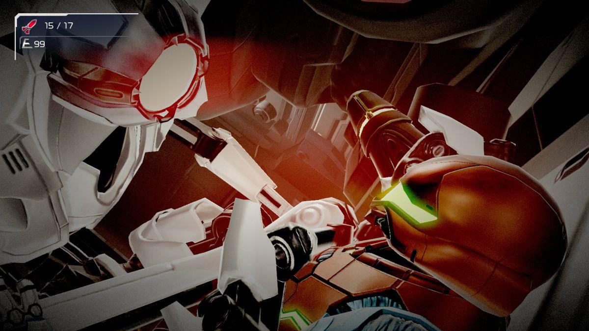 Samus fights with a robot up-close