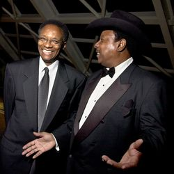 Ramsey Lewis (left) and Lonnie Brooks at the Chicago  Chapter of the Recording Academy awards in 2000. | Sun-Times file photo